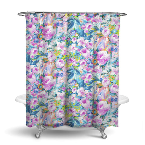ORONA - FLORAL SHOWER CURTAIN - MAGENTA - FLOWER DESIGN