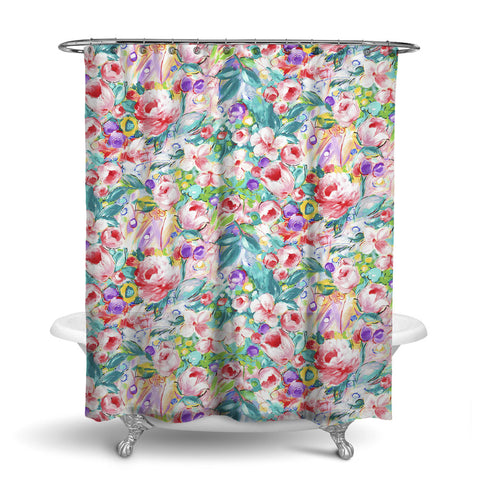 ORONA - FLORAL SHOWER CURTAIN - MULTI COLOR - FLOWER DESIGN