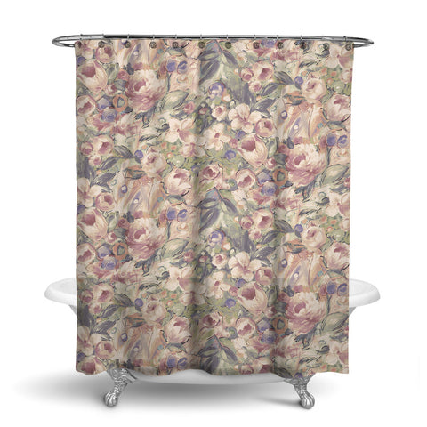 ORONA - FLORAL SHOWER CURTAIN - SEPIA - FLOWER DESIGN