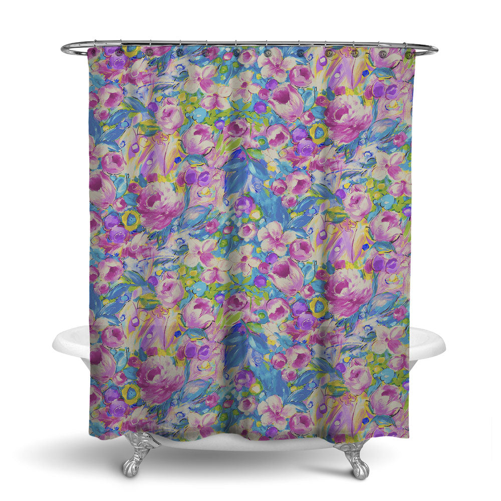 ORONA - FLORAL SHOWER CURTAIN - VINTAGE BERRY - FLOWER DESIGN