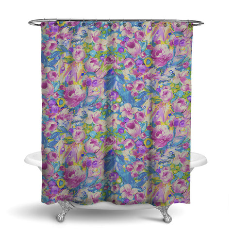ORONA FLORAL SHOWER CURTAIN VINTAGE BERRY – SHOWER CURTAIN COLLECTION