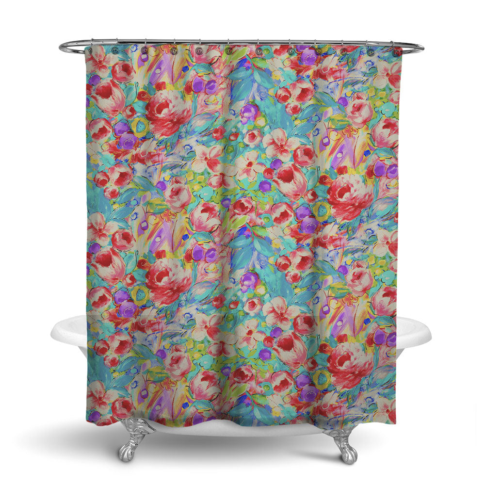 ORONA - FLORAL SHOWER CURTAIN - VINTAGE MULTI COLOR - FLOWER DESIGN