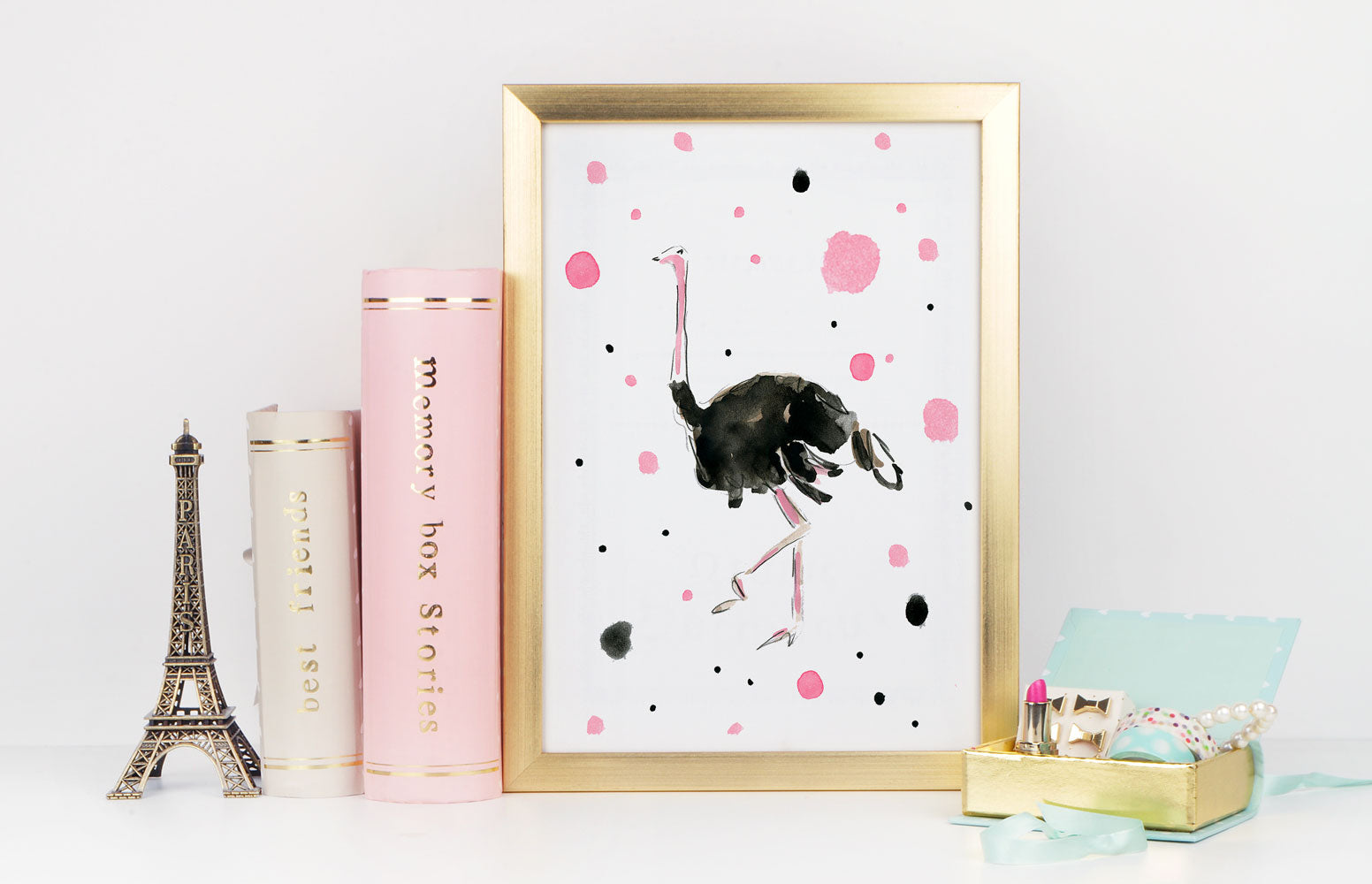 Olga Ostrich Art Print - Animal Illustrations Wall Art Collection