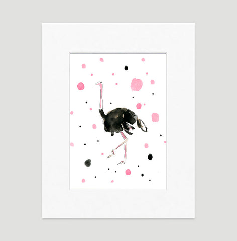 Olga Ostrich Art Print - Animal Illustrations Wall Art Collection-Matted-Di Lewis