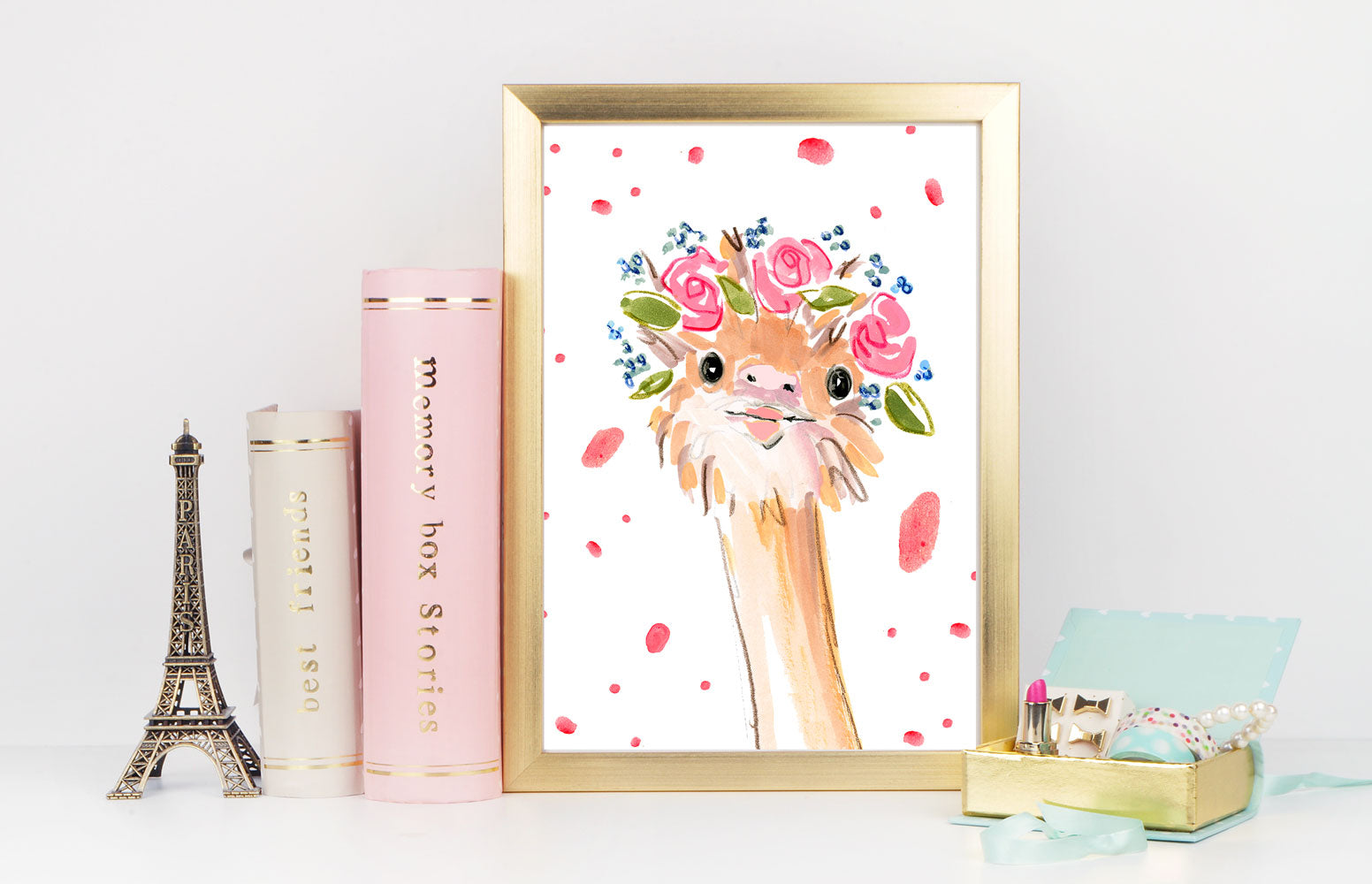 Ossie Ostrich Art Print - Animal Illustrations Wall Art Collection-Di Lewis