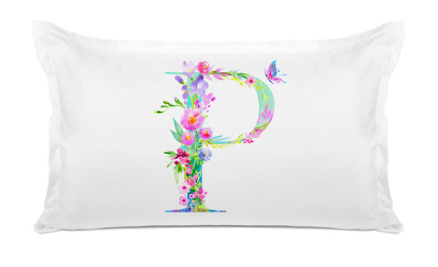 Floral Watercolor Monogram Letter P Pillowcase