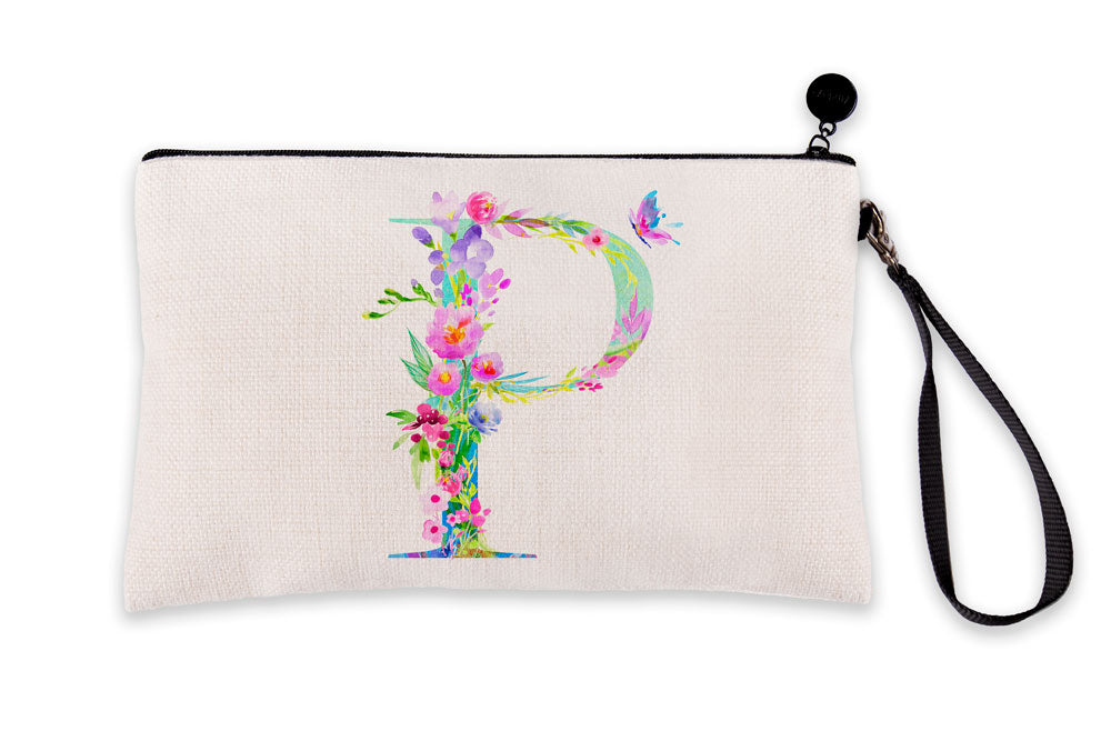 Floral Watercolor Monogram Letter P Makeup Bag