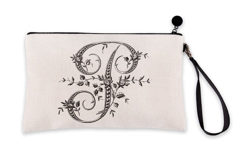 Vintage French Monogram Letter P Makeup Bag