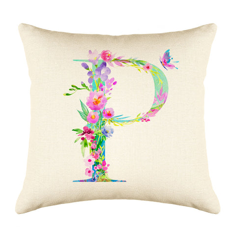 Floral Watercolor Monogram Letter P Throw Pillow Cover