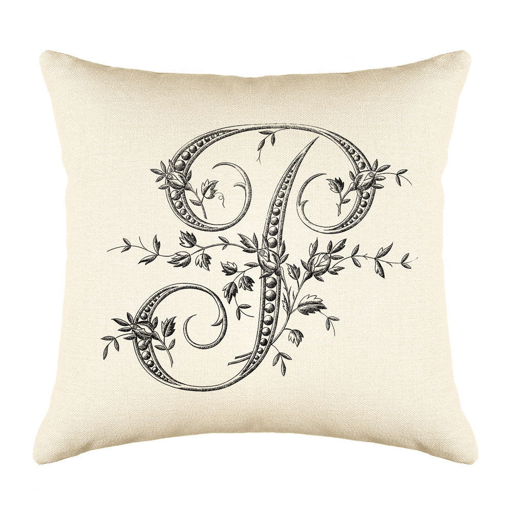 Vintage French Monogram Letter P Throw Pillow Cover