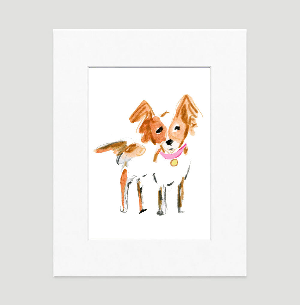 Peanut Papillon Art Print - Dog Illustrations Wall Art Collection-Di Lewis