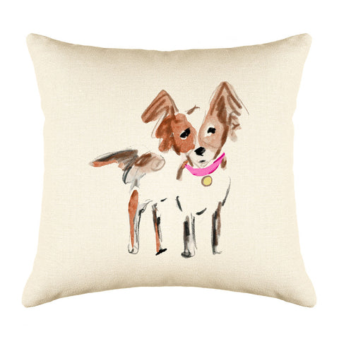 Peanut Papillon Throw Pillow Cover - Dog Illustration Throw Pillow Cover Collection