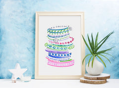 Pastel Bangles Art Print - Fashion Illustration Wall Art Collection-Room Setting-Di Lewis