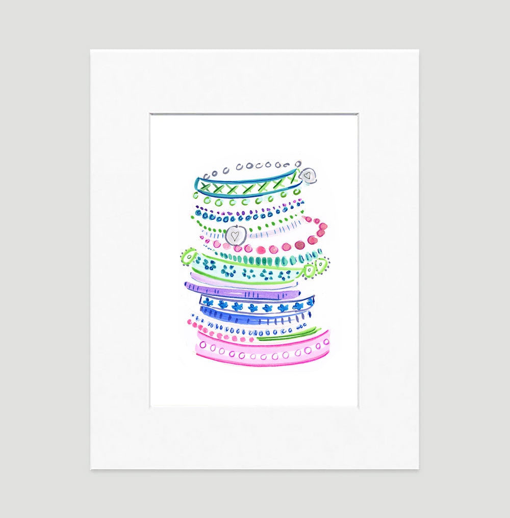 Pastel Bangles Art Print - Fashion Illustration Wall Art Collection-Matted-Di Lewis