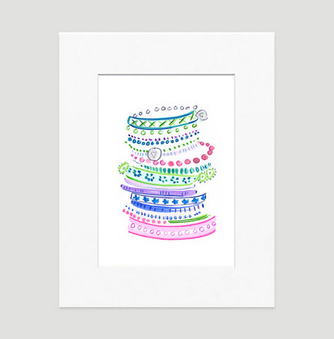 Pastel Bangles Art Print - Fashion Illustration Wall Art Collection-Di Lewis