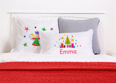 Wish Upon A Star Red & Green - Kids Personalized Pillowcase Collection-Di Lewis