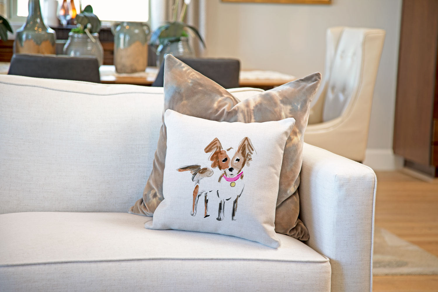 Peanut Papillon Throw Pillow Cover
