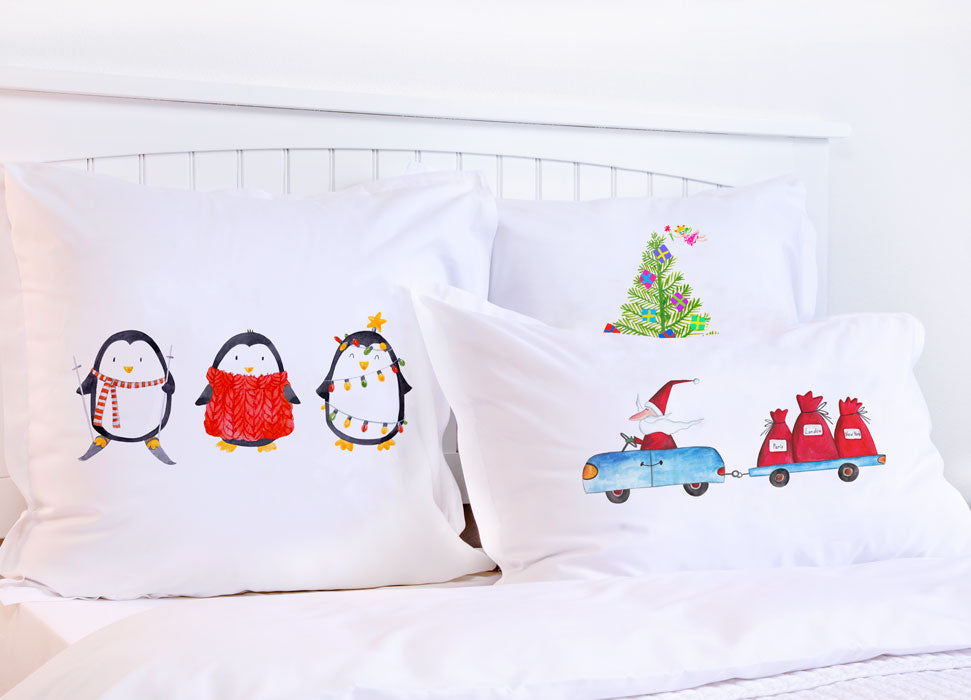 Christmas Penguins - Kids Personalized Pillowcase Collection