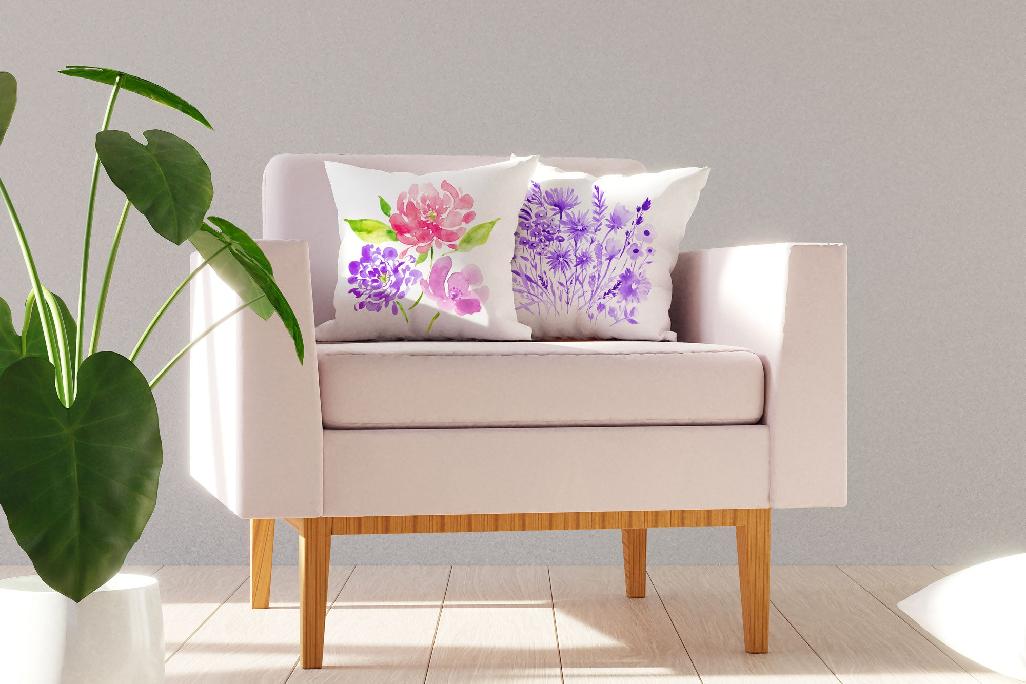 Purple Botanical Floral Throw Pillow Cover - Decorative Designs Throw Pillow Cover Collection
