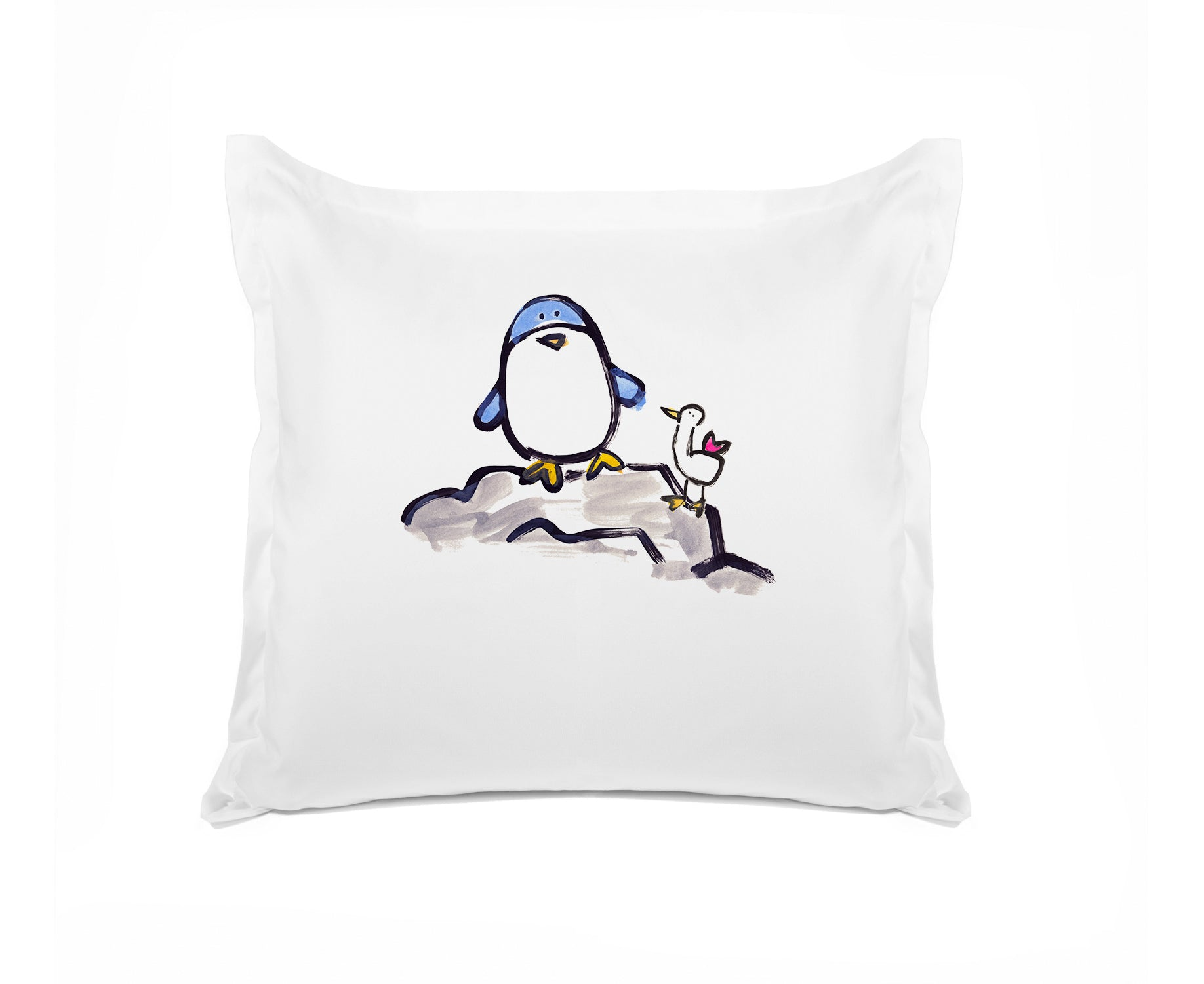 Percy Penguin Personalized Kids Euro Sham, Di Lewis Kids Bedding