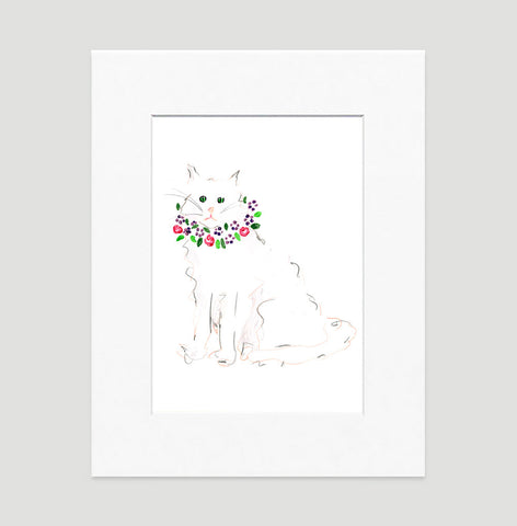 White Cat Art Print - Cat Illustrations Wall Art Collection-Di Lewis