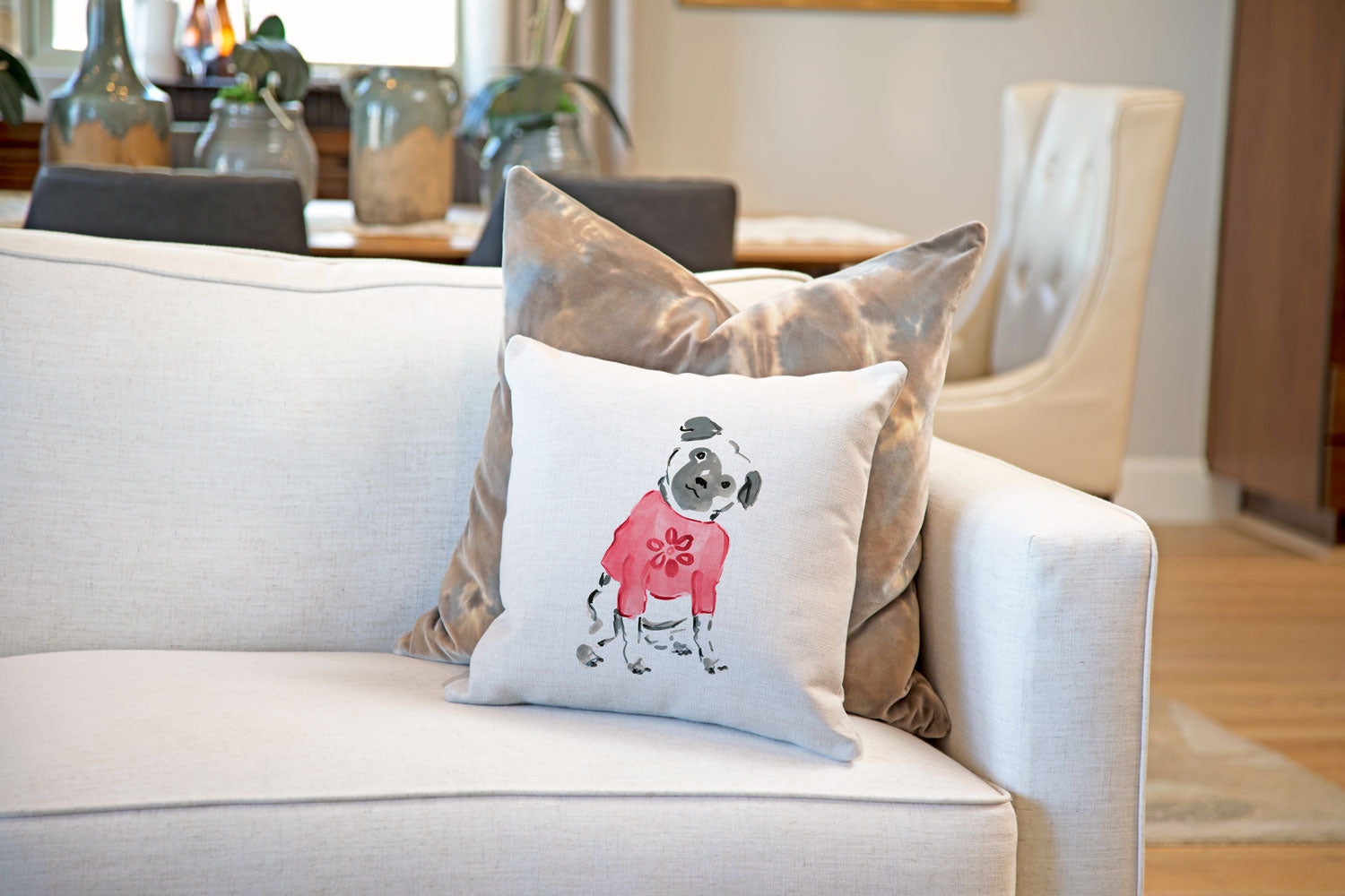 Pickles Pug Throw Pillow Cover - Dog Illustration Throw Pillow Cover Collection