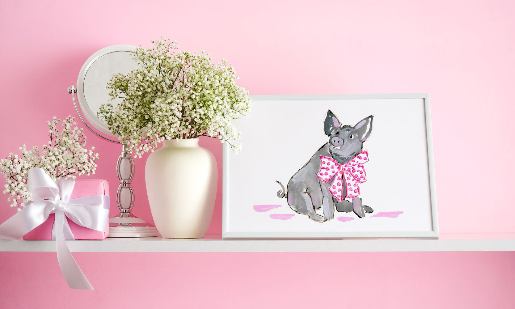 Pippa Pig Art Print - Animal Illustrations Wall Art Collection-Di Lewis