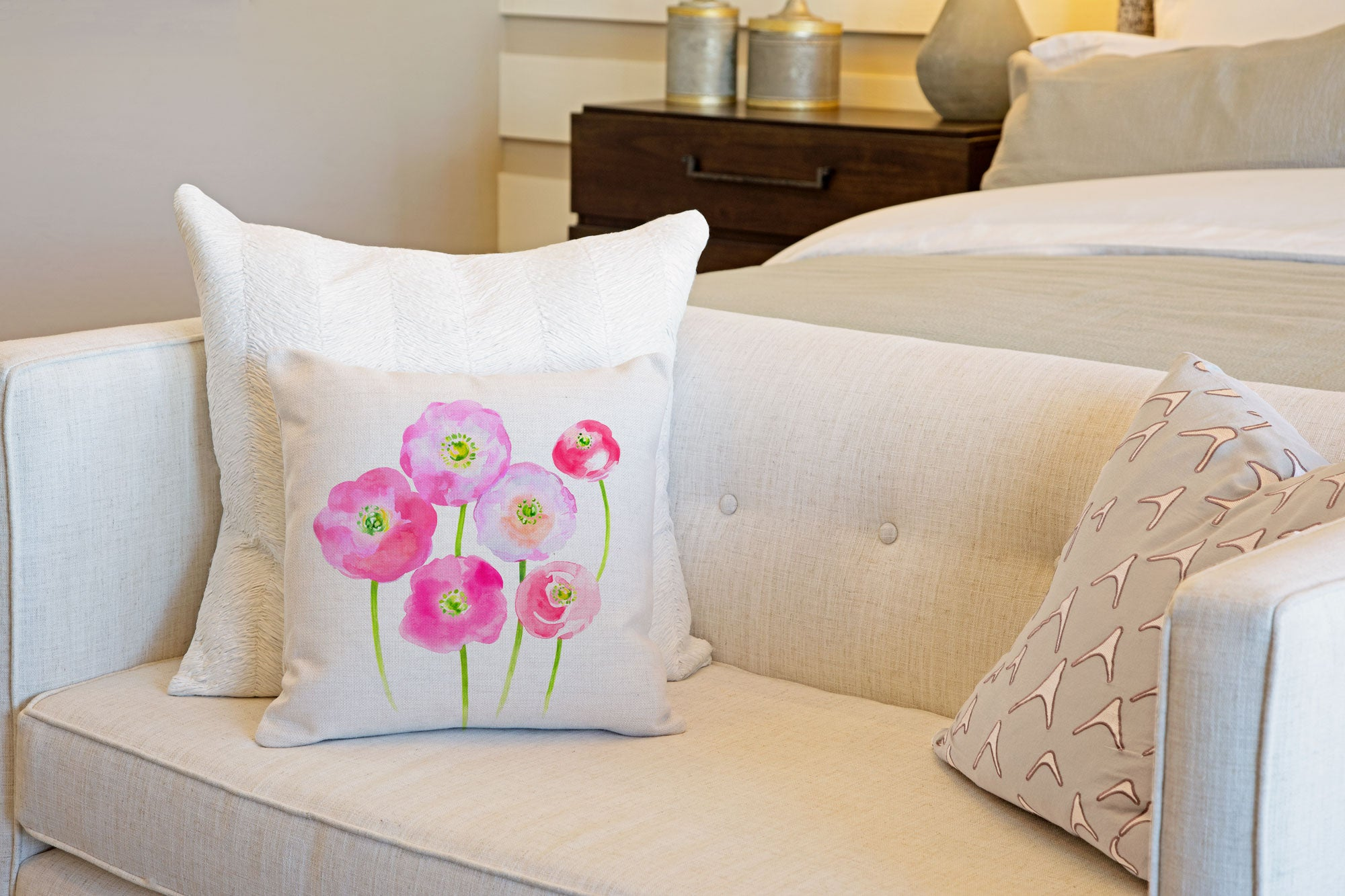 Pink Poppies Throw Pillow Cover - Decorative Designs Throw Pillow Cover Collection