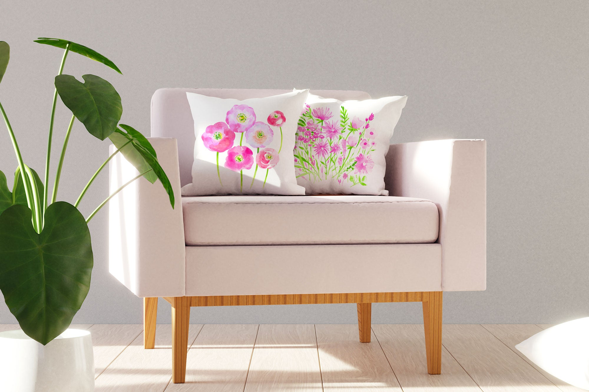 Pink and Green Botanical Floral Throw Pillow Cover - Decorative Designs Throw Pillow Cover Collection