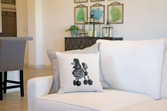 Pixie Poodle Throw Pillow Cover - Dog Illustration Throw Pillow Cover Collection-Di Lewis
