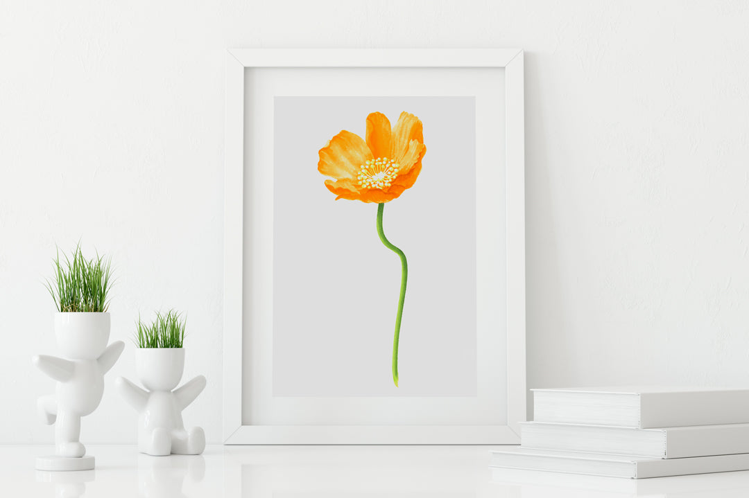 Poppy Gold Small Art Print - Floral Art Wall Decor Collection-Di Lewis