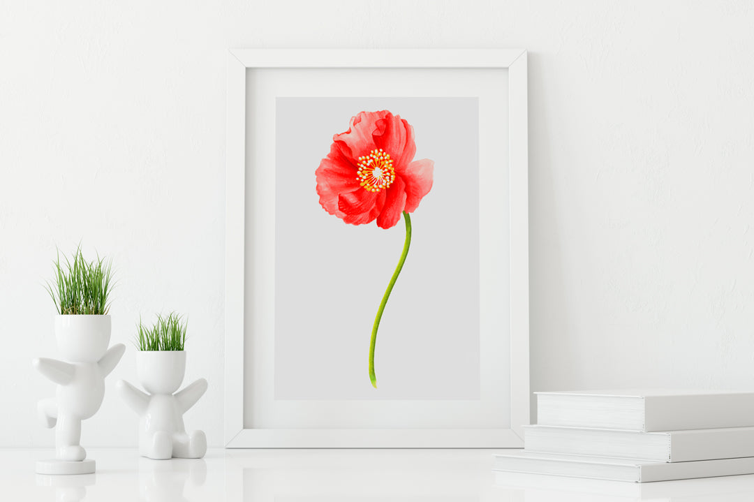 Poppy Red Art Print - Floral Art Wall Decor Collection-Di Lewis