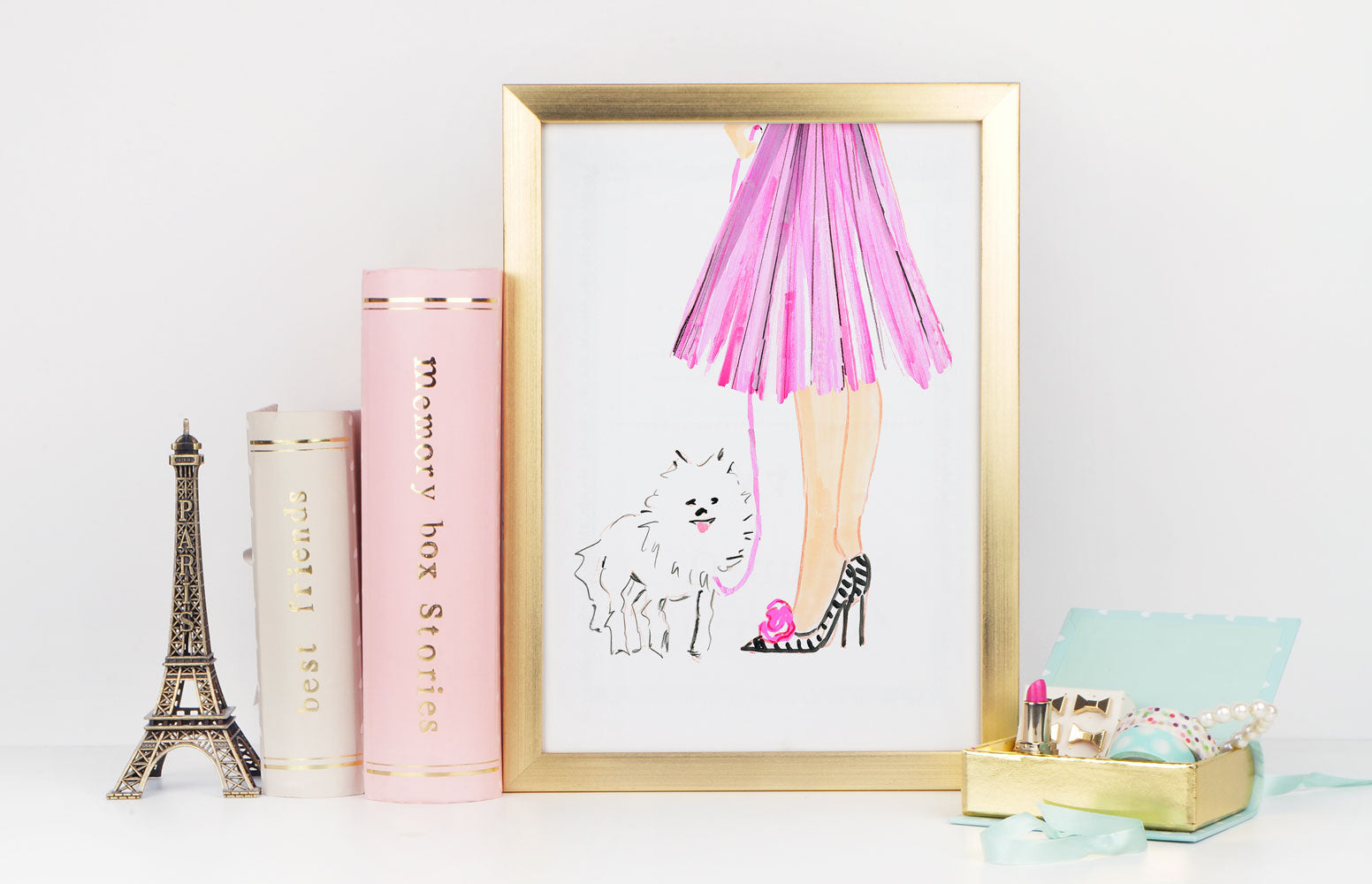Pretty In Pink Art Print - Fashion Illustration Wall Art Collection-Di Lewis