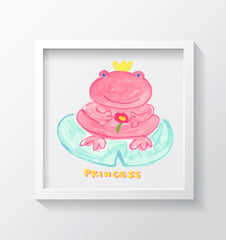 Princess Froggy Art Print - Kids Wall Art Collection-Di Lewis