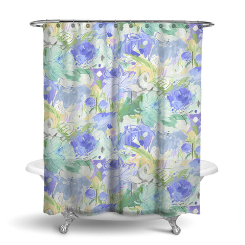 PRINTEMPS - FLORAL SHOWER CURTAIN - BLUE - FLOWER DESIGN - CONTEMPORARY