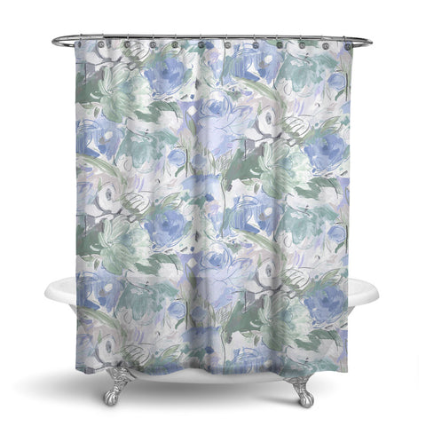 PRINTEMPS - FLORAL SHOWER CURTAIN - GREY BLUE - FLOWER DESIGN - CONTEMPORARY