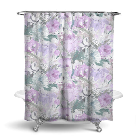 PRINTEMPS - FLORAL SHOWER CURTAIN - GREY LAVENDER - FLOWER DESIGN - CONTEMPORARY
