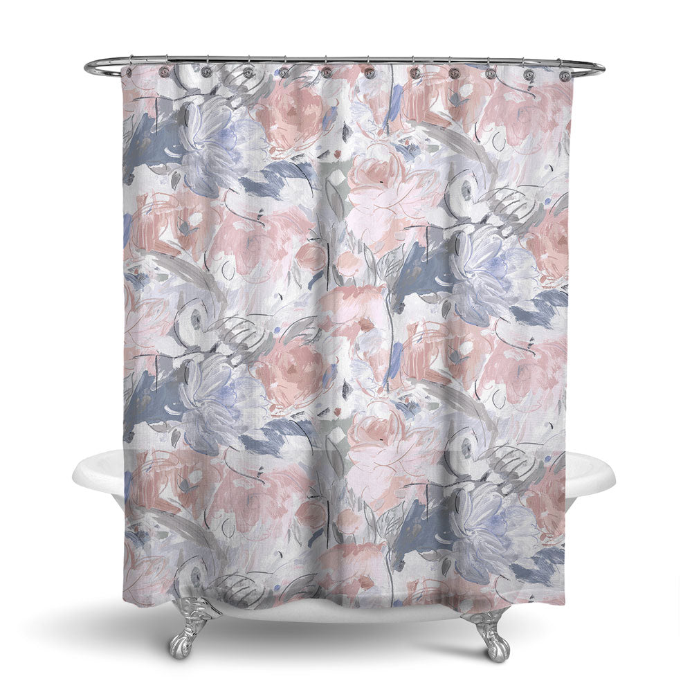 PRINTEMPS - FLORAL SHOWER CURTAIN - GREY PEACH - FLOWER DESIGN - CONTEMPORARY