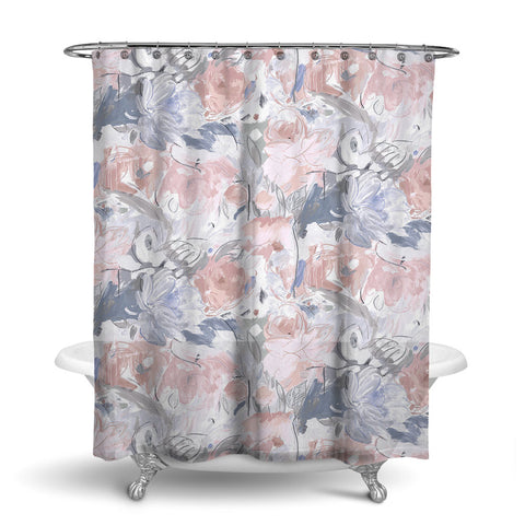 PRINTEMPS FLORAL SHOWER CURTAIN GREY PEACH – SHOWER CURTAIN COLLECTION