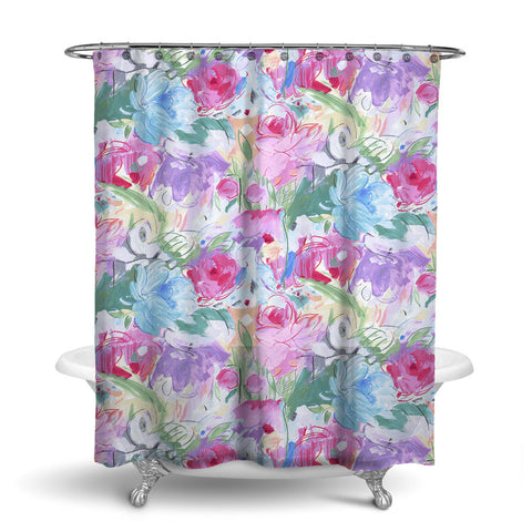 PRINTEMPS - FLORAL SHOWER CURTAIN - MAGENTA - FLOWER DESIGN - CONTEMPORARY