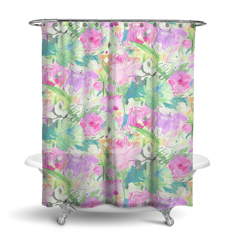 PRINTEMPS - FLORAL SHOWER CURTAIN - PINK - FLOWER DESIGN - CONTEMPORARY