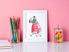 Pebbles Pug Art Print - Dog Illustrations Wall Art Collection-Di Lewis