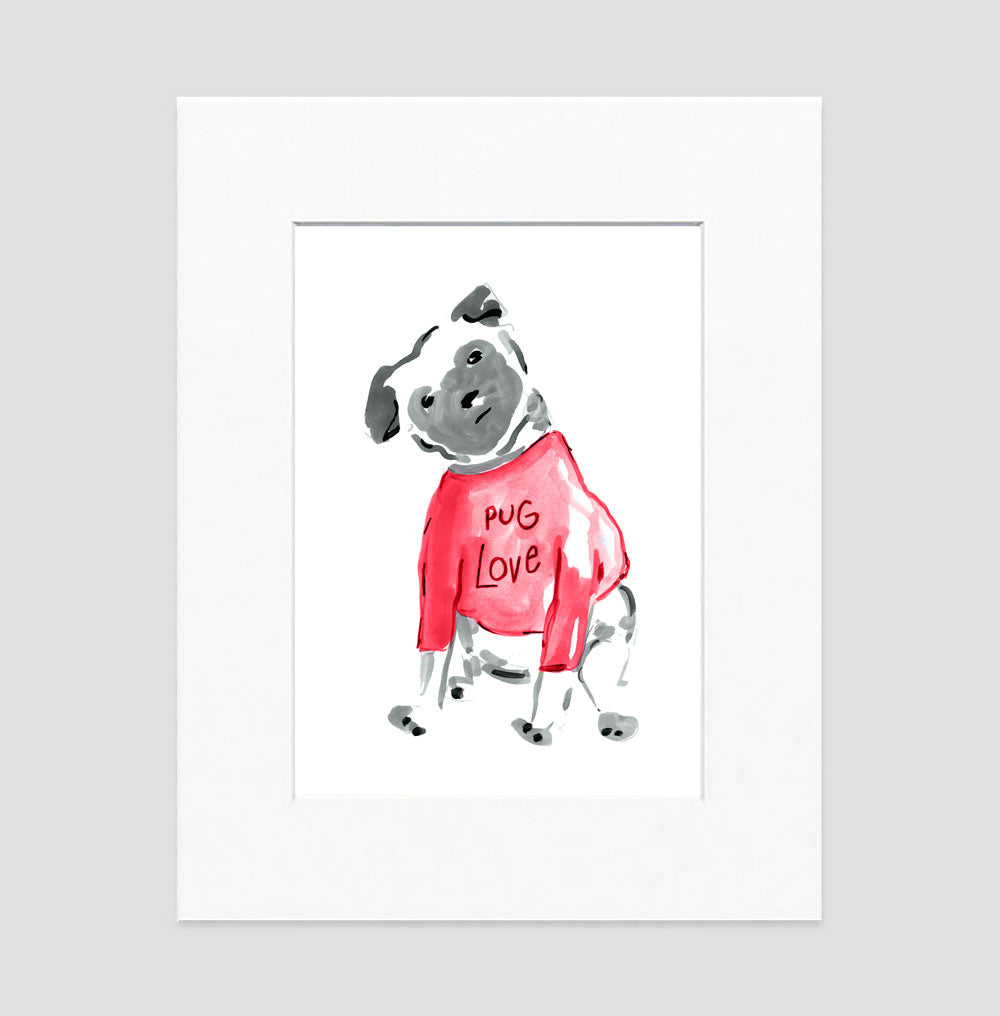 Pebbles Pug Art Print