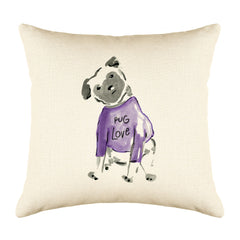 Pebbles Pug Throw Pillow Cover - Dog Illustration Throw Pillow Cover Collection-Di Lewis