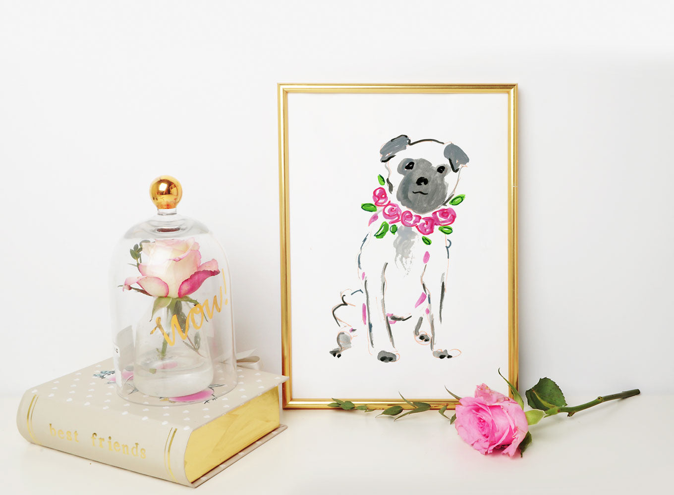 Pepper Pug Art Print - Dog Illustrations Wall Art Collection-Di Lewis