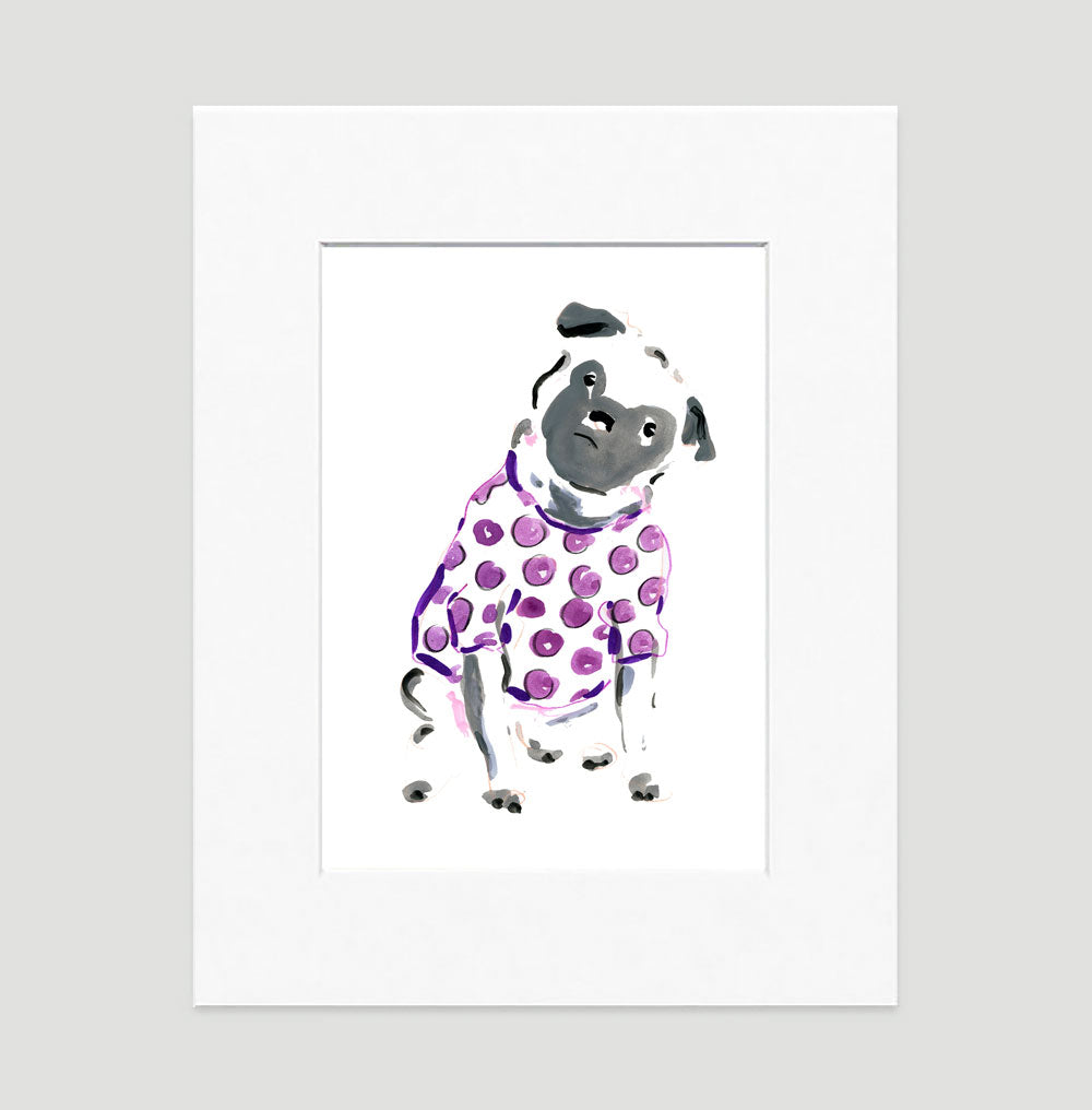 Peewee Pug Art Print - Dog Illustrations Wall Art Collection-Di Lewis