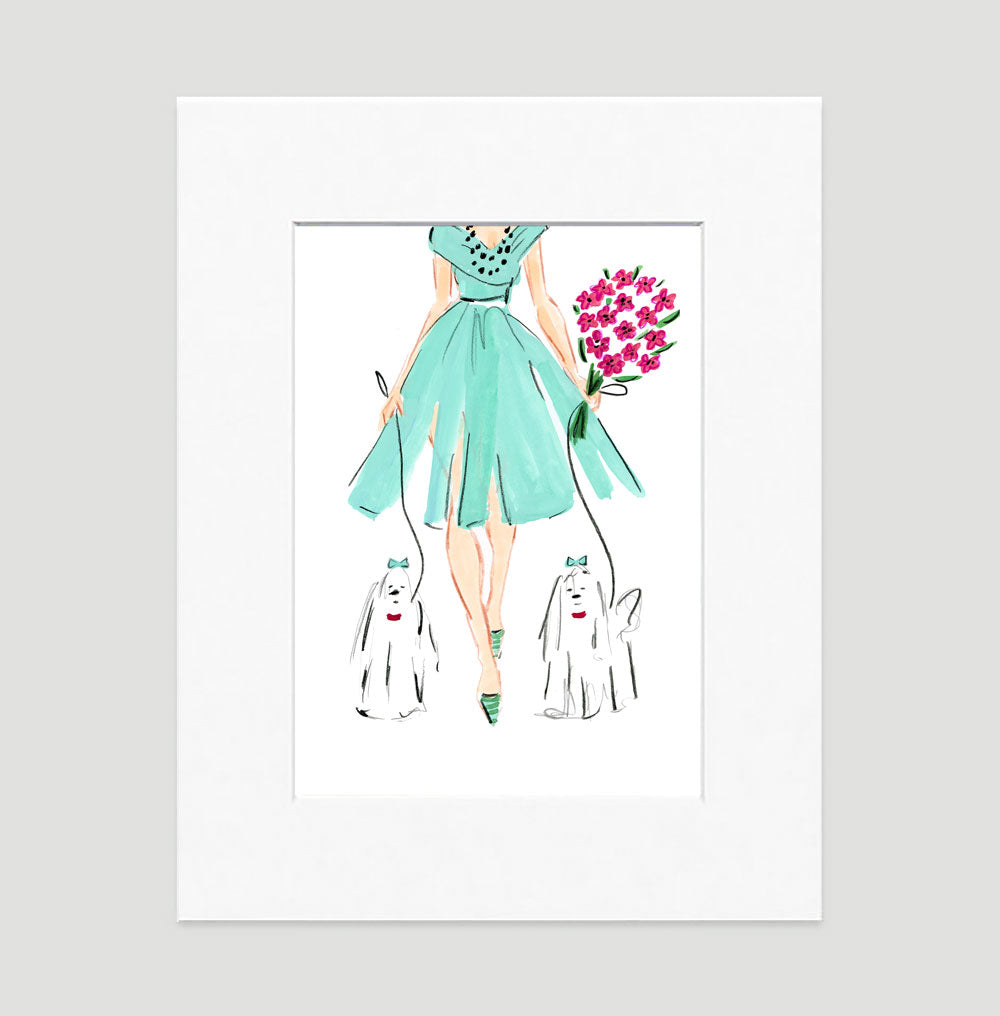 Putting On The Dog Art Print - Fashion Illustration Wall Art Collection-Di Lewis