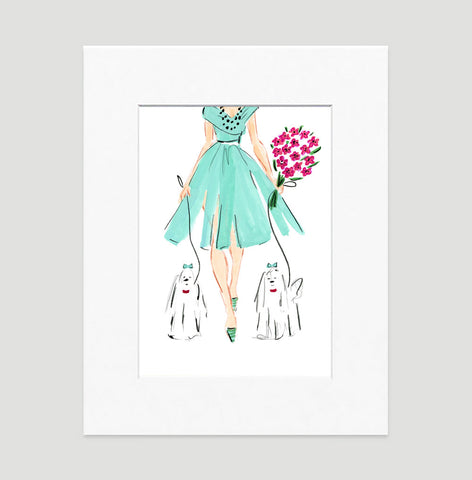 Putting On The Dog Art Print - Fashion Illustration Wall Art Collection-Matted-Di Lewis