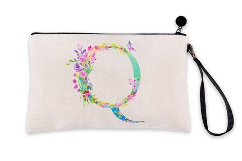 Floral Watercolor Monogram Letter Q Makeup Bag