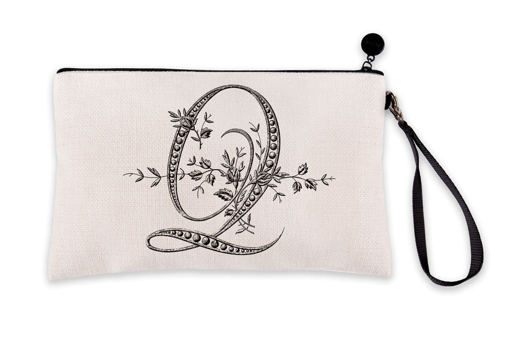 Vintage French Monogram Letter Q Makeup Bag